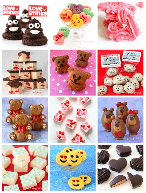 "valentine's day fudge including Poop Emoji fudge, conversation heart fudge, fudge hearts, cherry cola fudge, caramel fudge bears, ""you rock"" fudge, peanut butter fudge bears, frosting fudge. buckeye bears, and more."