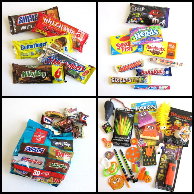 Candy bars including Snickers, 100 Grand, Butterfingers, 3 Musketeers, and Milky Way plus lots of Halloween candy and toys.