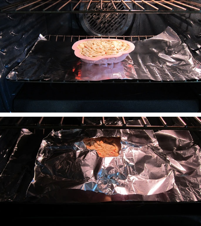bake the pizza brain in the oven on the lowest rack set over a sheet of tin foil then cover the edge of the crust as it gets dark brown