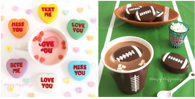 Valentine's Day conversation heart hot chocolate bombs and Super Bowl football hot chocolate bombs