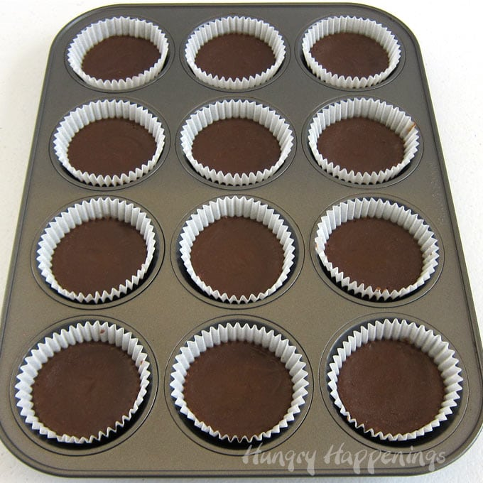 Chocolate cheesecakes baked in a cupcake pan (muffin tin).