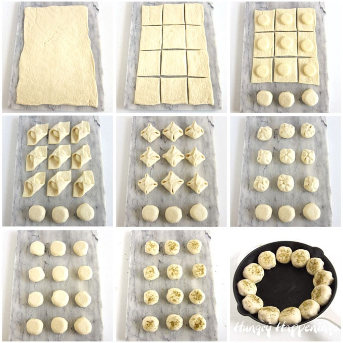 Cut pizza dough into squares then top with a Babybel Mozzarella Cheese and fold the dough over top. Brush with egg wash and sprinkle on parmesan bread dip seasoning.