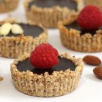 chocolate almond tarts made with almond milk chocolate ganache