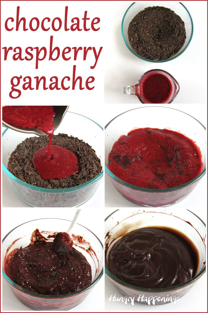 Pour hot raspberry puree over finely chopped chocolate then blend together to create ganache.