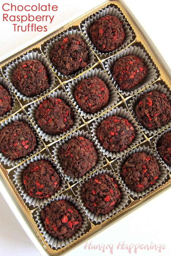 Chocolate Raspberry Truffles in candy cups are packaged in a gift box