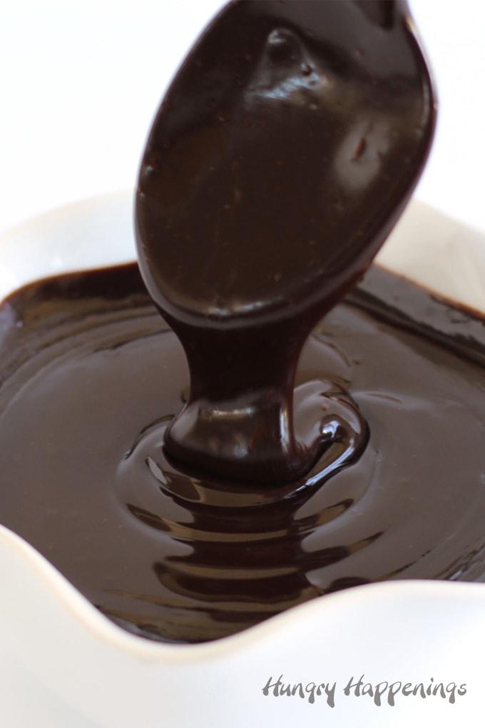 silky smooth and shiny chocolate ganache made using heavy whipping cream and dark chocolate