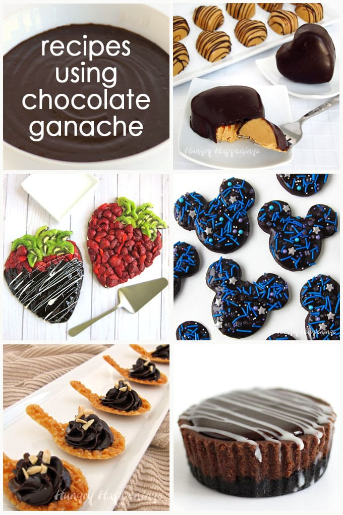 Recipes using chocolate ganache including Peanut Butter Fudge Hearts, Fruit Pizza Strawberries, Mickey Mouse Galaxy Cookies, Nougatine Spoons, and Mini Chocolate Cheesecakes.