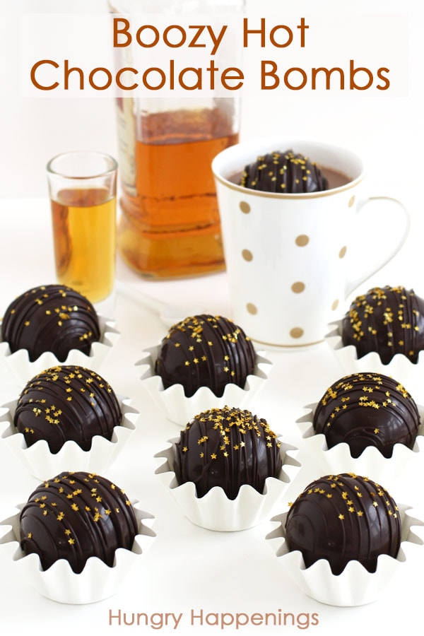 Boozy hot chocolate bombs are filled with chocolate ganache made with your favorite alcohol or liquor.