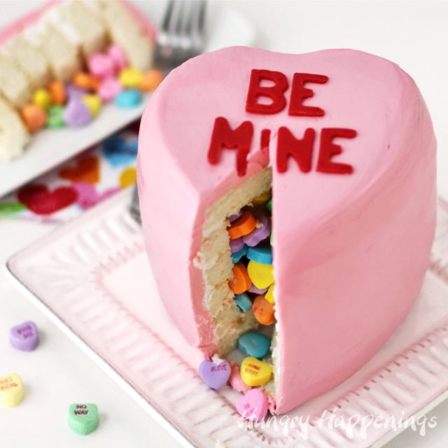 Conversation Heart Cake filled with conversation heart candy