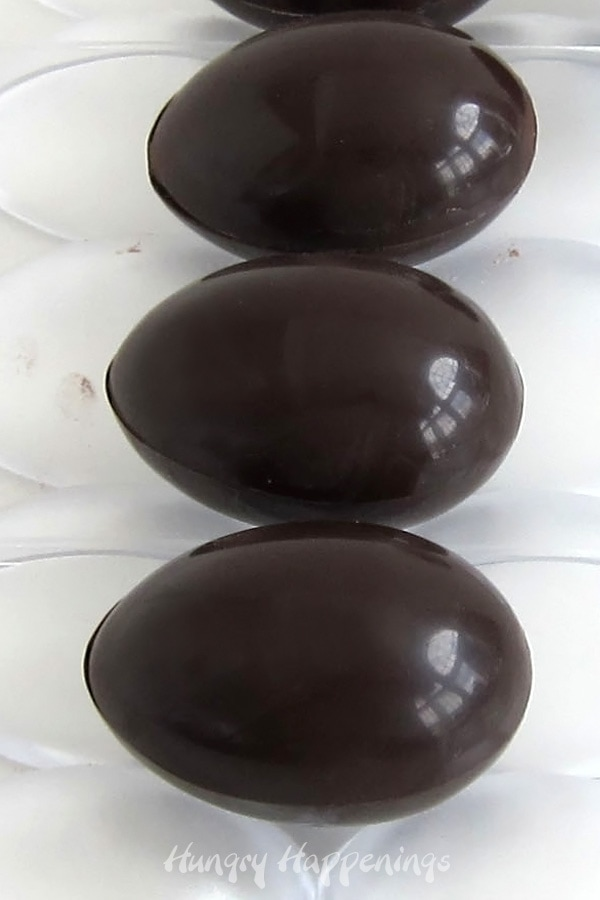 Dark chocolate eggs filled with hot chocolate mix and marshmallows.