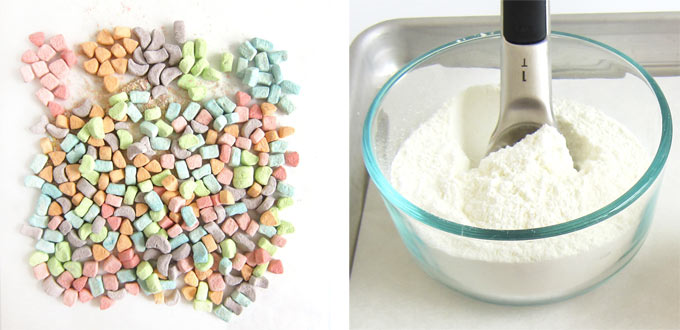 dehydrated cereal marshmallows and white hot chocolate mix