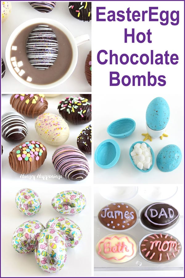 Easter Egg Hot Chocolate Bombs - milk, dark. and white chocolate, speckled robins' eggs, personalized chocolate eggs, foil wrapped eggs