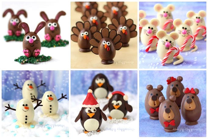 Chocolate eggs decorated like Easter Bunnies, Turkeys, Christmas Mice, Snowmen, Penguins, and Teddy Bears can be made into hot chocolate bombs.