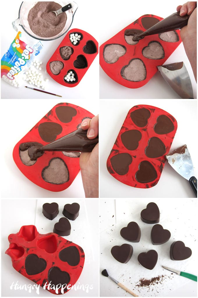 fill heart-shaped hot chocolate bombs with hot cocoa mix and mini marshmallows then cover with chocolate, chill, then un-mold