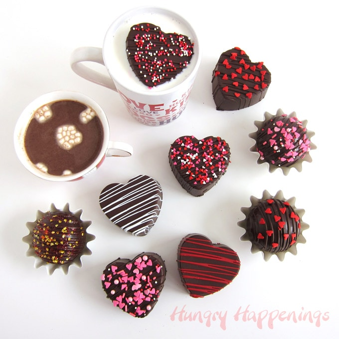 melt hot chocolate bombs in a mug of steaming hot milk to make hot chocolate