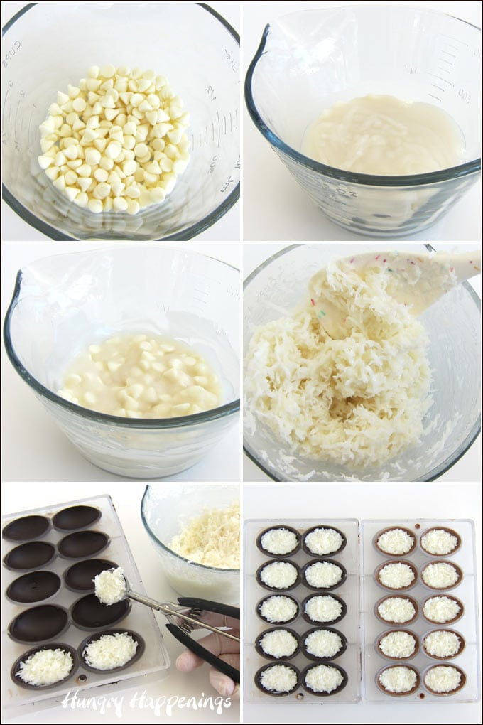 Melt white chocolate chips and cream of coconut. Stir in unsweetened coconut. Spoon into chocolate eggs.