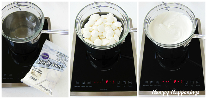 melting white candy melts using a double boiler