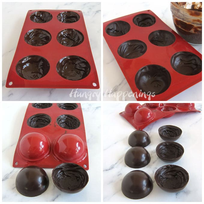 Paint chocolate into a silicone mold to create chocolate shells for hot chocolate bombs.