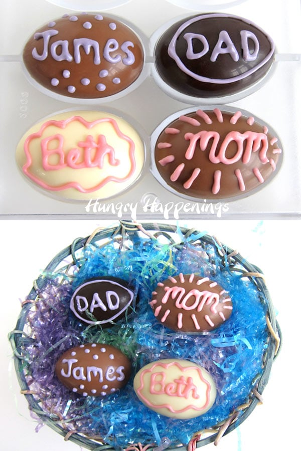 personalized chocolate Easter egg hot chocolate bombs