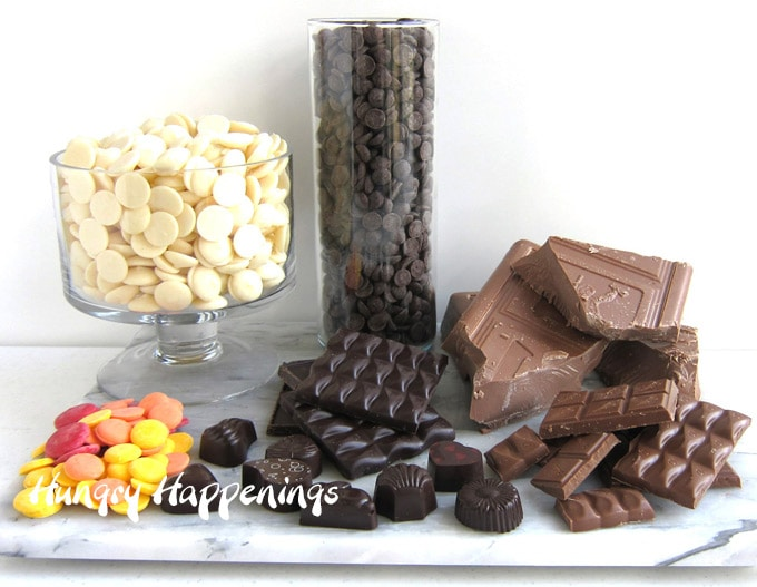 Variety of chocolate including pure chocolate and compound chocolate (candy melts) in milk, dark, white, and colors