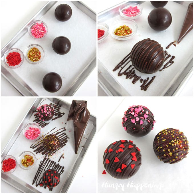 Drizzle chocolate over top of the hot chocolate bomb spheres then add heart-shaped sprinkles or edible glitter.