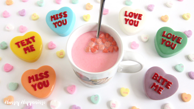 Valentine's Day hot cocoa bombs conversation hearts