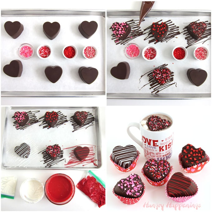 Drizzle chocolate over top of the heart hot chocolate bombs then add sprinkles on top.