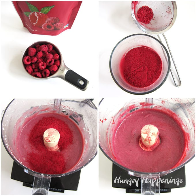 Crush freeze dried raspberries then push through a sieve to remove the seeds. Blend with raspberry ganache.