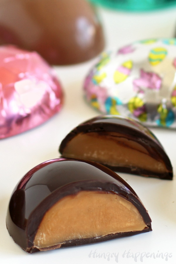 Caramel Eggs - dark chocolate and milk chocolate caramel filled eggs wrapped in Easter foil.