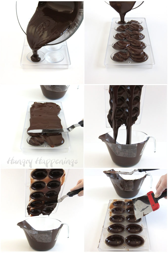 Pour chocolate into egg mold then drain out the excess and scrape the top edge clean.