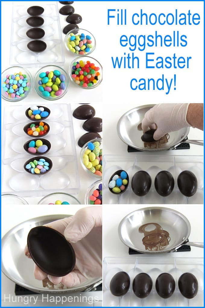 Fill chocolate eggshells with Easter candy then seal the two halves together by melting the edge of one eggshell and sticking it onto the other half.