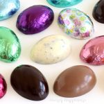 Fill homemade chocolate eggs with cookies, pretzels, toffee bits, peanuts, Rice Krispies Cereal, and more.