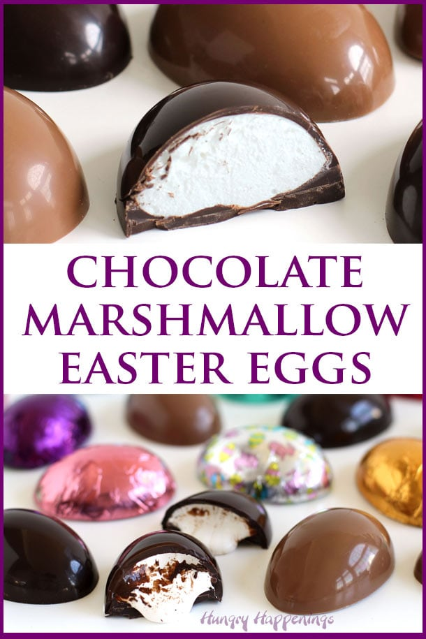 Chocolate marshmallow eggs made with homemade marshmallows or store-bought marshmallow creme in milk chocolate and dark chocolate.
