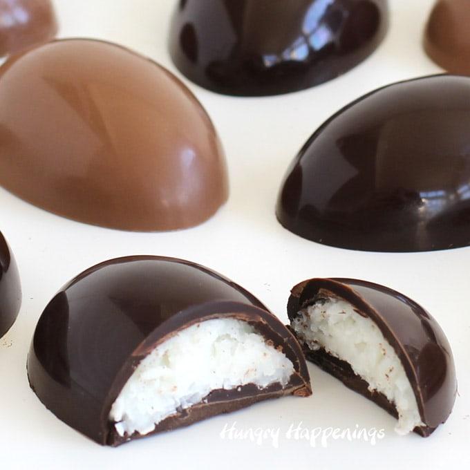coconut cream-filled chocolate eggs made in milk chocolate and dark chocolate