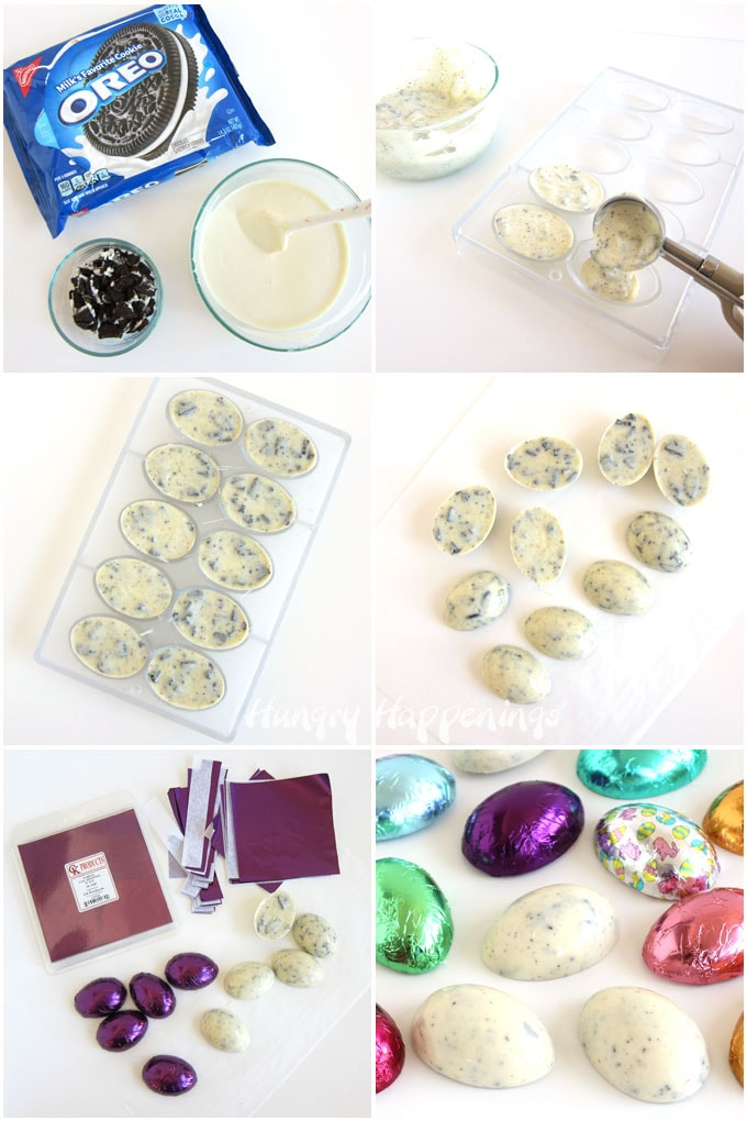 Make cookies and cream Easter eggs by mixing OREO Cookie pieces with white chocolate, pour it into egg molds, chill, harden, unmold, then wrap in foil.