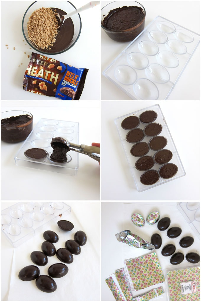 Stir Heath Toffee Bits into melted dark chocolate then spoon into egg molds. Harden, unmold, then wrap in Easter foil.