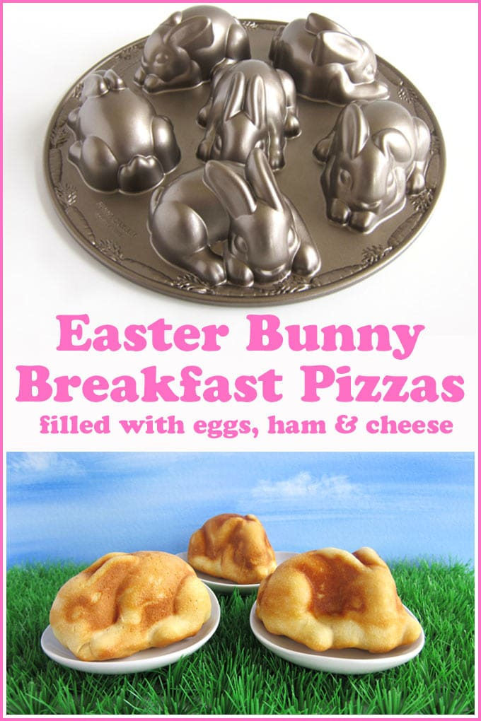 Easter bunny breakfast pizzas stuffed with eggs, ham, and cheese are baked in a Nordic Ware Bunny Cakelet Pan.