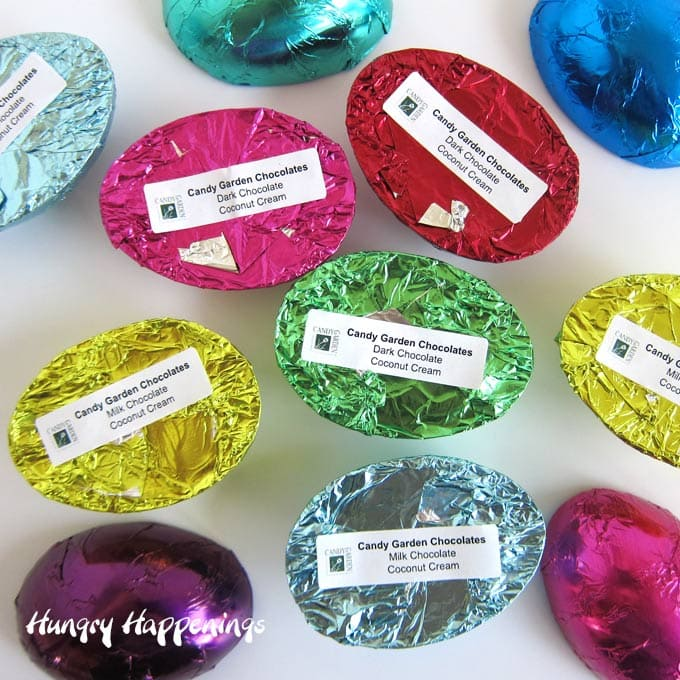 Label foil-wrapped chocolate eggs to differentiate the flavors.