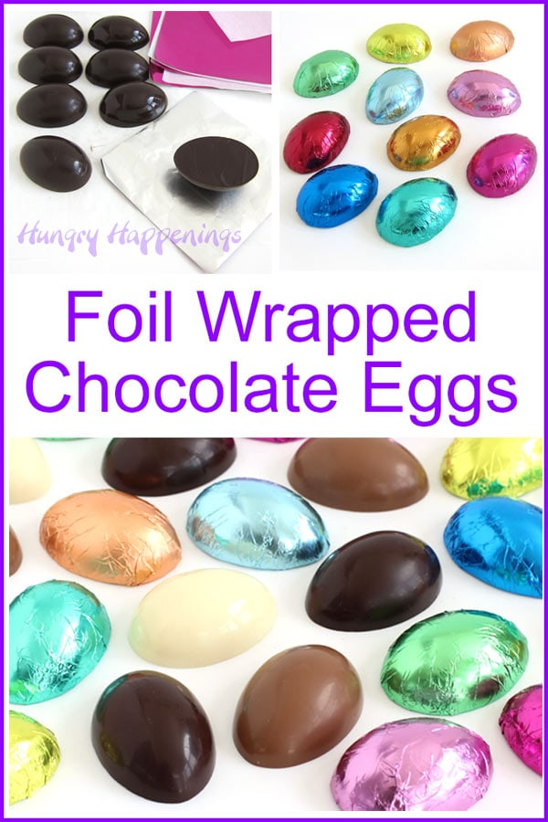 Wrap homemade chocolate eggs in colorful foil candy wrappers.