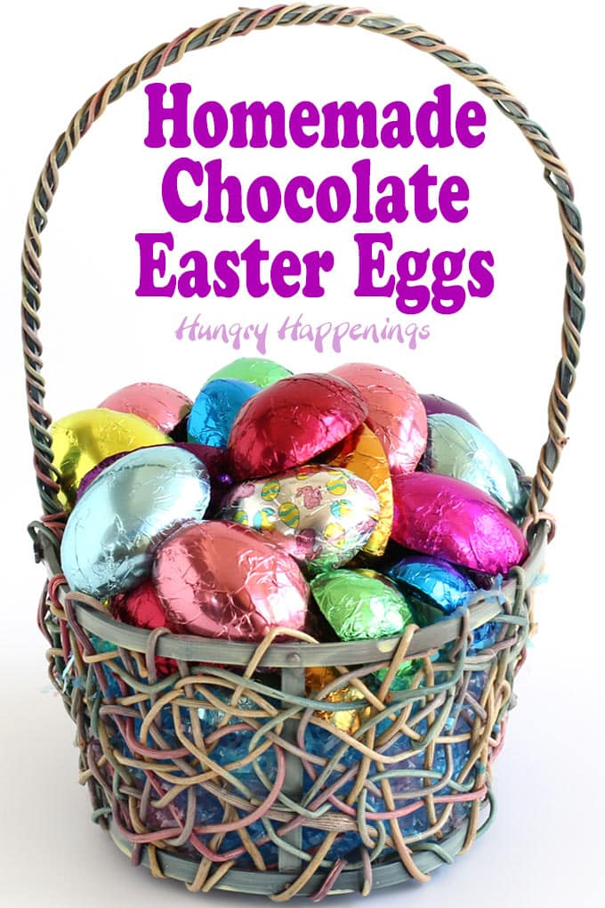 Handmade chocolate Easter eggs wrapped in colorful foil candy wrappers look amazing in an Easter basket.