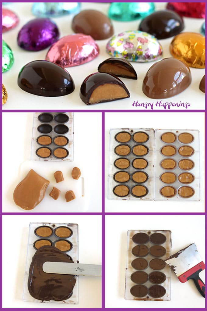 Make caramel eggs by filling chocolate eggshells with pieces of soft chewy caramel then top with more chocolate and scraped off the excess .