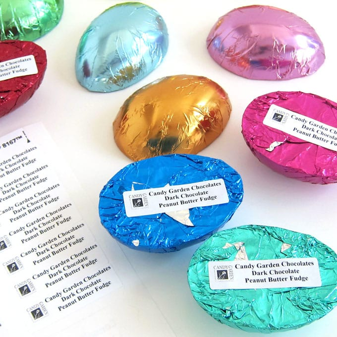print small return address labels to differentiate your chocolate egg flavors
