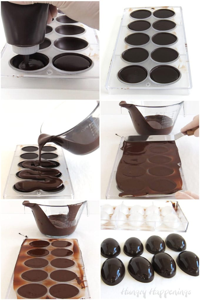 Fill chocolate eggshells with chocolate ganache, let the filling set, then cover with a thin layer of chocolate.