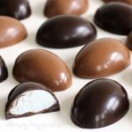 Marshmallow Eggs made using milk chocolate or dark chocolate are filled with homemade marshmallow filling.