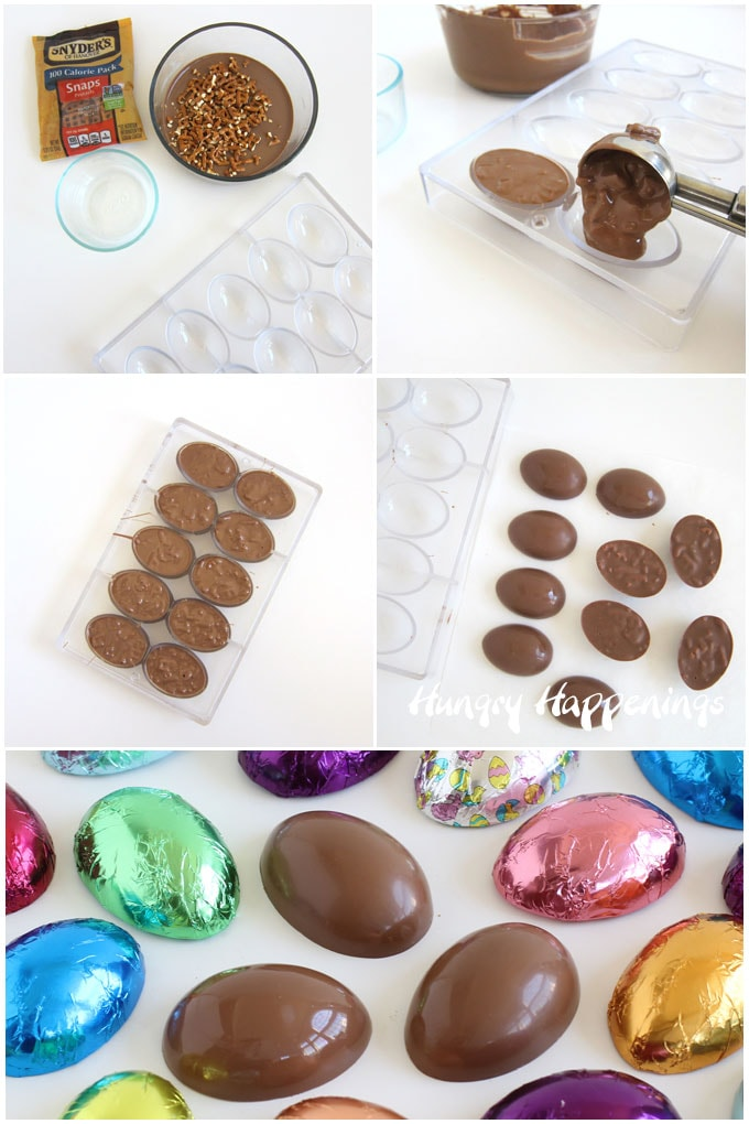 Mix pretzel pieces into milk chocolate then spoon it into egg molds, chill until hardened, then unmold, and wrap in colorful foil candy wrappers.