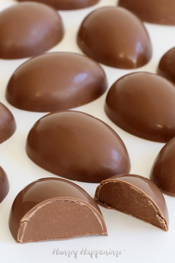 Milk chocolate truffle eggs filled with creamy milk chocolate ganache.