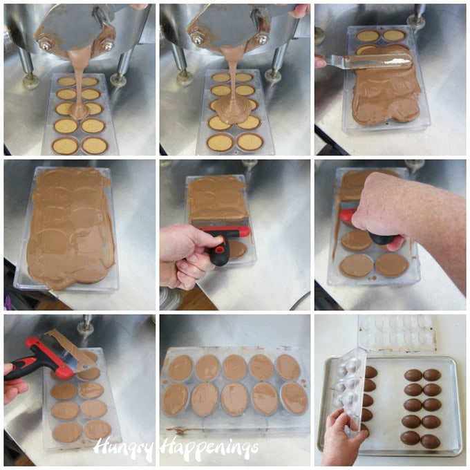 Pour milk chocolate over the peanut butter fudge-filled Easter eggs then scrape off excess.