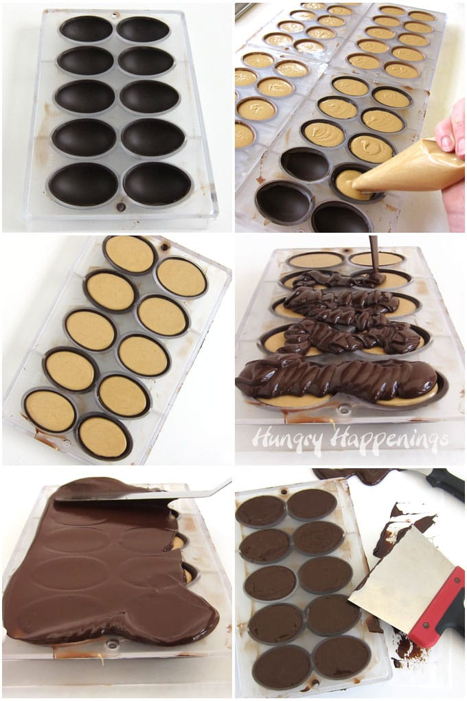 Pipe peanut butter fudge into chocolate egg shells then cover the fudge with a thin layer of chocolate and scrape off any excess.