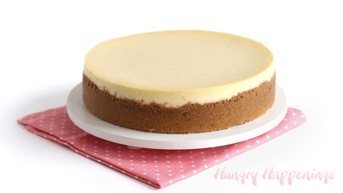 The best vanilla bean cheesecake on a graham cracker crust.