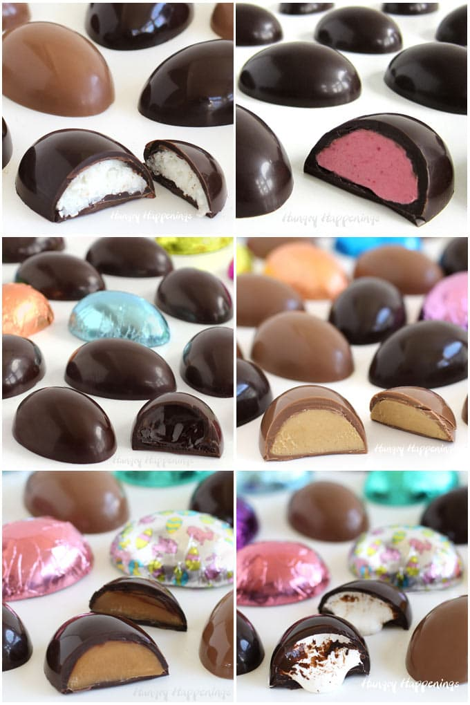 Coconut cream, raspberry, chocolate ganache, peanut butter fudge, caramel, and marshmallow filled chocolate Easter eggs.